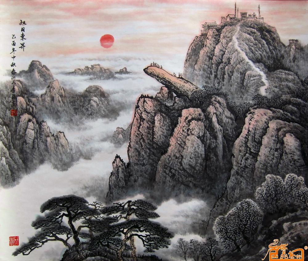 水墨泰山背景素材